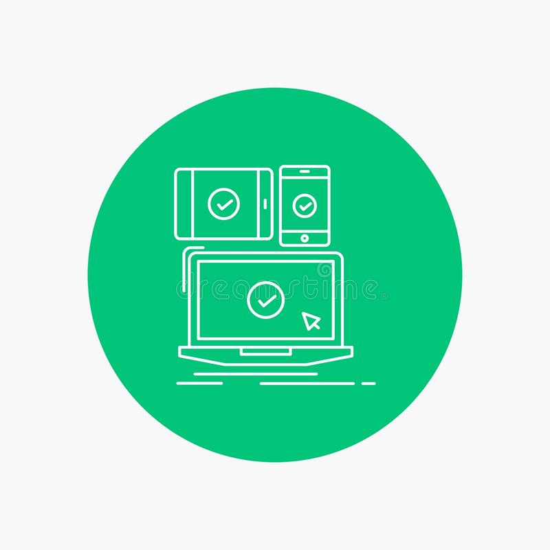 computer, devices, mobile, responsive, technology White Line Icon in Circle background. vector icon illustration royalty free illustration