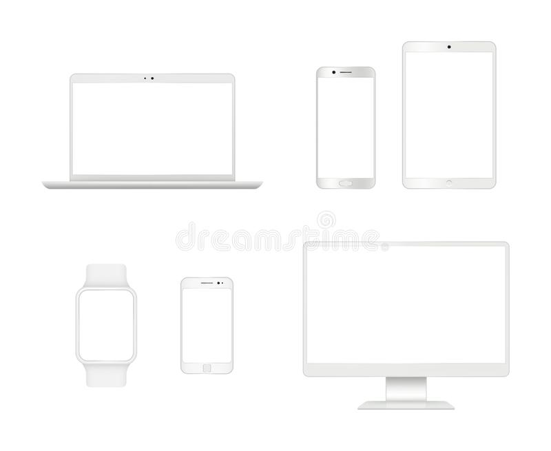 Computer devices mockup. Smartphone laptop tablet monitor display vector modern realistic gadgets. Computer and smartphone display, monitor pc mockup stock illustration