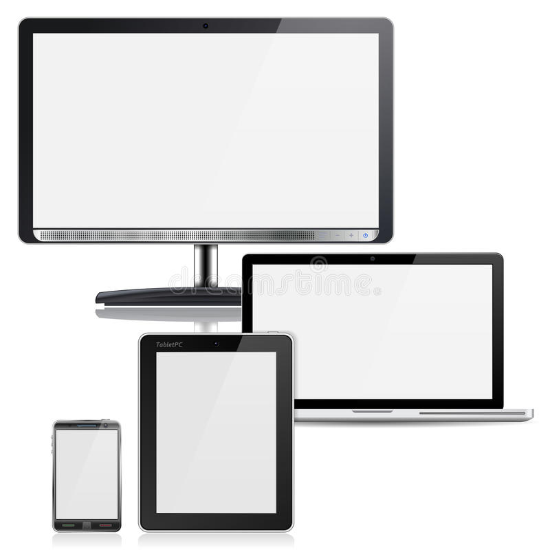 Computer Devices. Set of Computer Devices - Monitor, Laptop, Tablet PC, Smartphone, on white background vector illustration