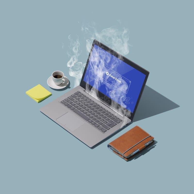 Computer di guasto e di surriscaldamento del sistema su un desktop illustrazione vettoriale