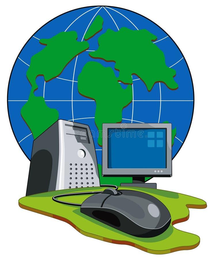 Computer die aan bol wordt aangesloten royalty-vrije illustratie