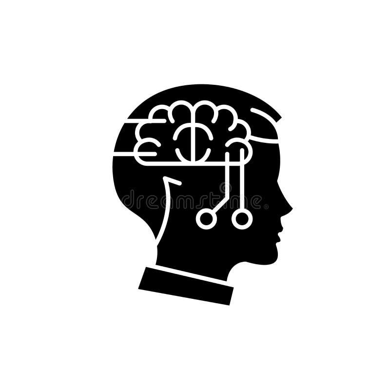 Computer die zwart pictogram, vectorteken op geïsoleerde achtergrond denken Computer het denken conceptensymbool, illustratie vector illustratie