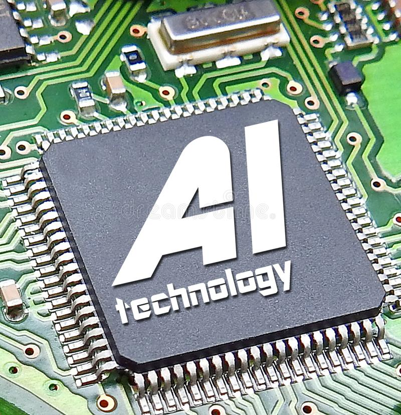 Computer digital ai artificial intelligence printed circuit board pcb information data electronics electrical system royalty free stock image