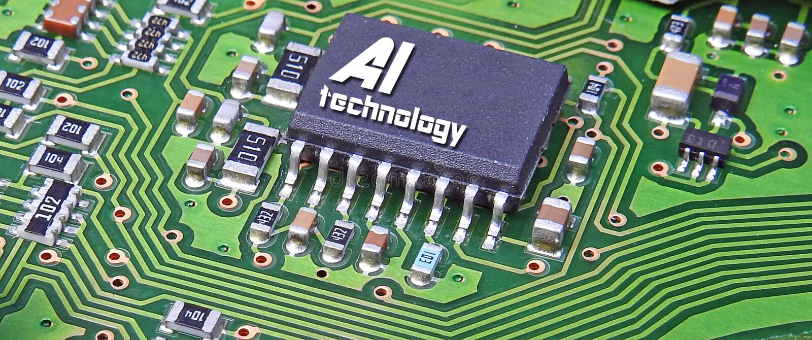 Computer digital ai artificial intelligence printed circuit board pcb information data electronics electrical system stock photo