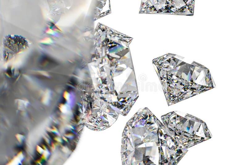 Luxury diamond gem, 3d rendering. Computer digital drawing, diamond background, 3d rendering white reflection crystal diamonds gem luxury stone sparkle jewelry royalty free stock photos