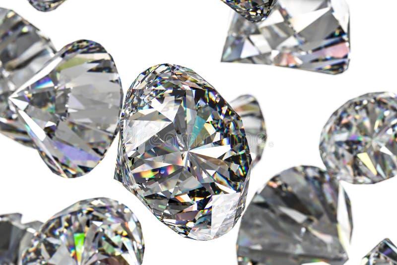 Luxury diamond gem, 3d rendering. Computer digital drawing, diamond background, 3d rendering white reflection crystal diamonds gem luxury stone sparkle jewelry stock image