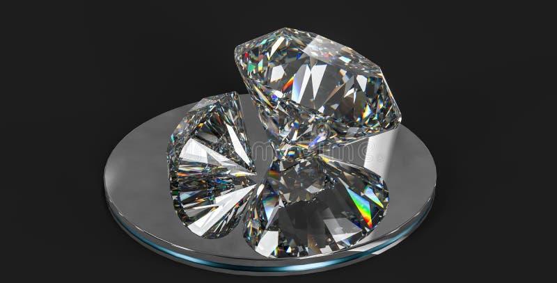 Luxury diamond gem, 3d rendering. Computer digital drawing, diamond background, 3d rendering reflection crystal diamonds gem luxury stone sparkle jewelry royalty free stock image