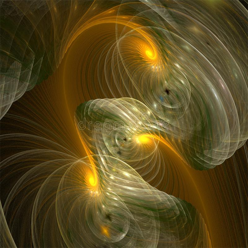 Computer digital fractal art abstract factals transparent glass bubbles and yellow spirals stock illustration