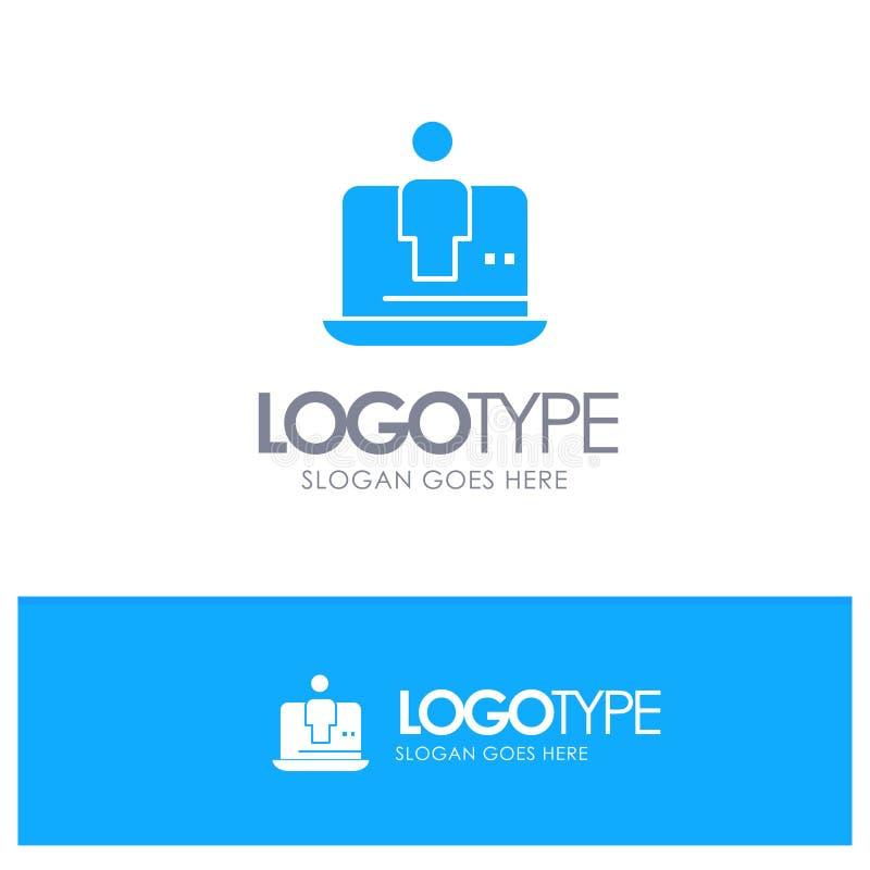 Computer, Digital, Laptop, Technologie, Marketing-blaues festes Logo mit Platz für Tagline stock abbildung