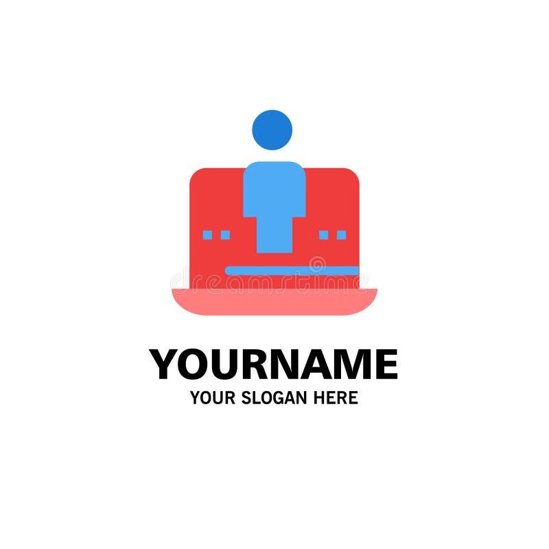 Computer, Digital, Laptop, Technologie, vermarktendes Geschäft Logo Template flache Farbe stock abbildung
