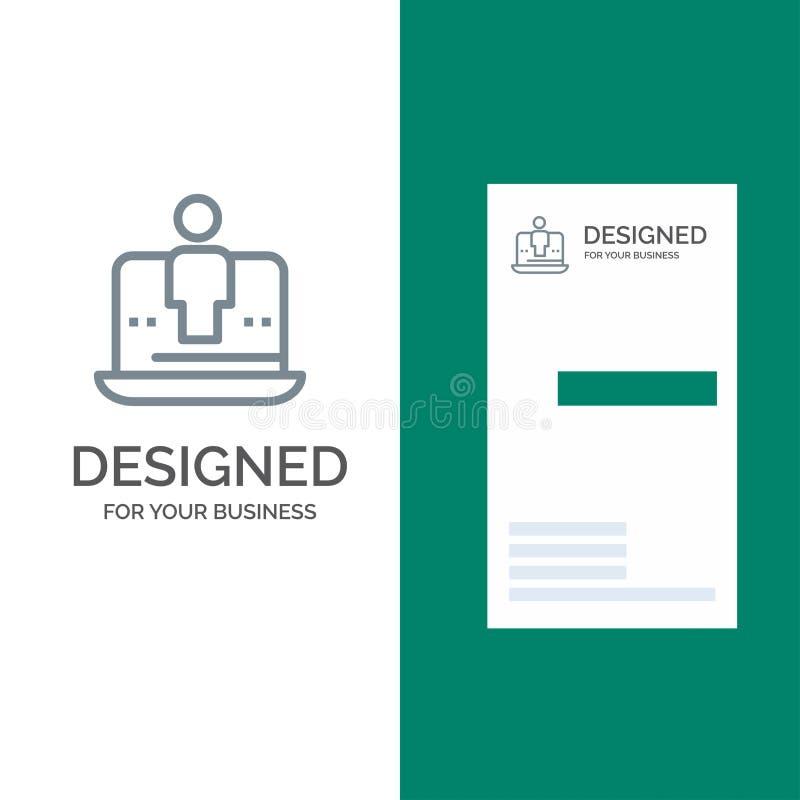 Computer, Digital, Laptop, Technology, Marketing Grey Logo Design and Business Card Template vector illustration