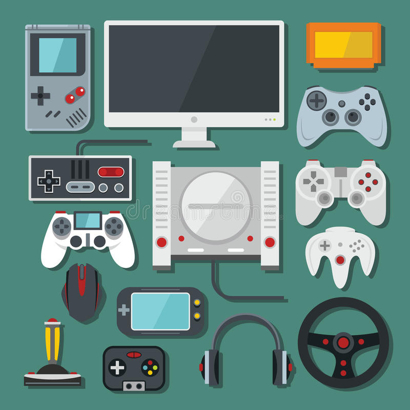 Computer, digital video online game console, game tools vector s. Et. Colour flat royalty free illustration