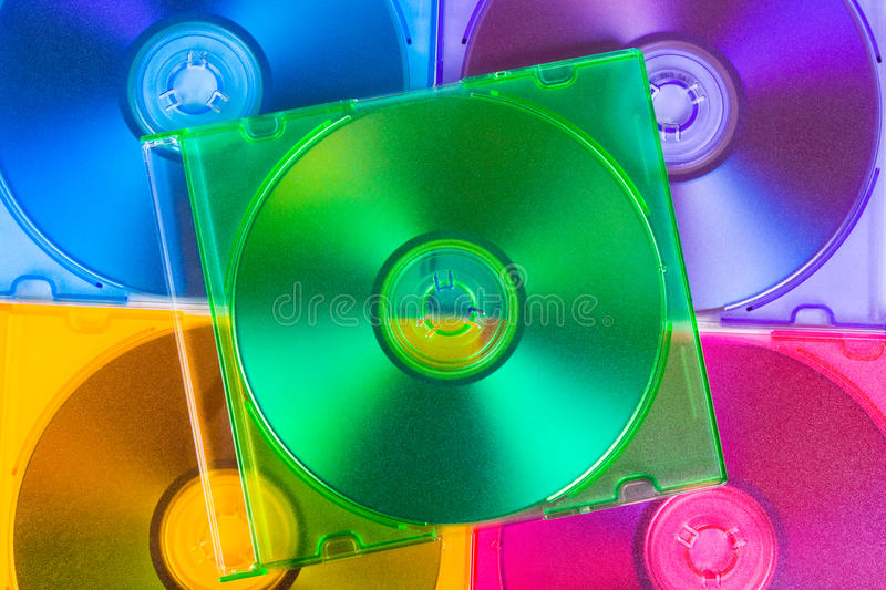 Computer disks in multiciolored boxes
