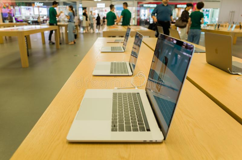 Computer display in Apple retail shop royalty free stock photography