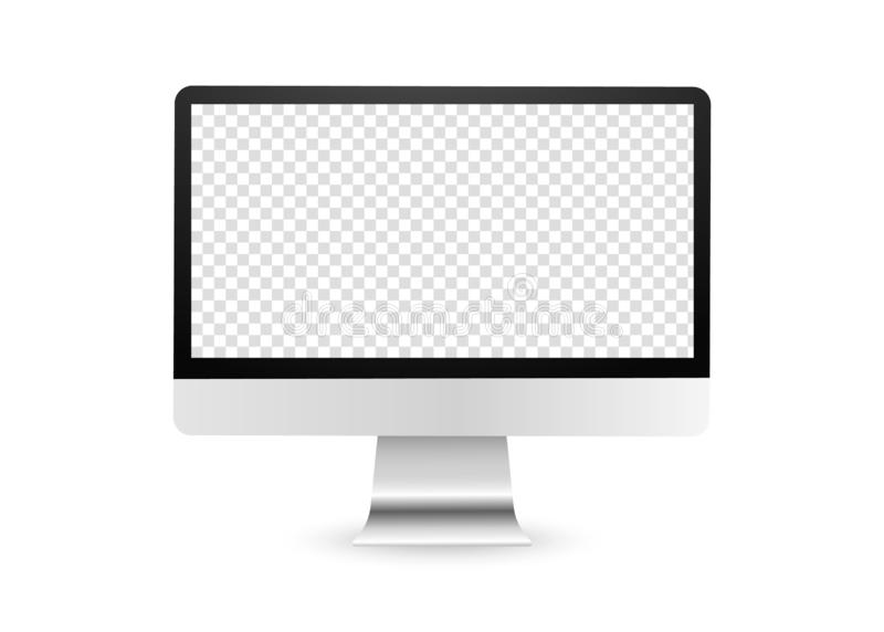 Computer display with blank screen. PC monitor. Realistic computer display with transparent screen. Blank lcd monitor. PC display isolated on white background royalty free illustration