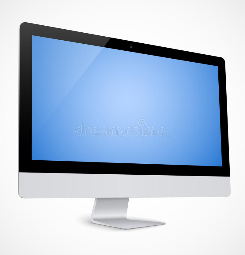 Computer display with blue screen vector illustration