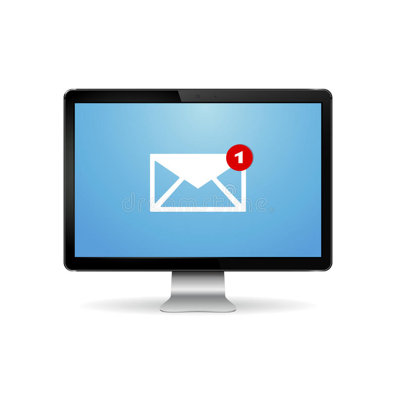 Computer display with email letter on screen. Modern digital computer display with email letter on screen. Email marketing, internet advertising concepts. Vector vector illustration