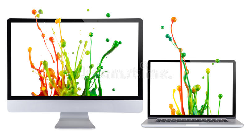 Computer display. Computer display isolated on white background royalty free illustration