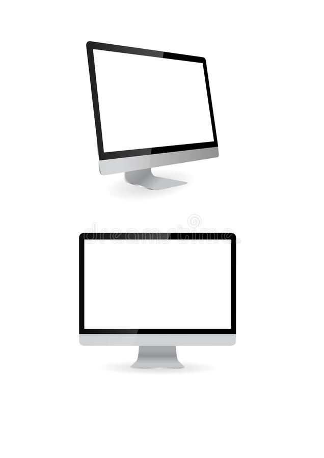 Computer display isolated on white royalty free stock images