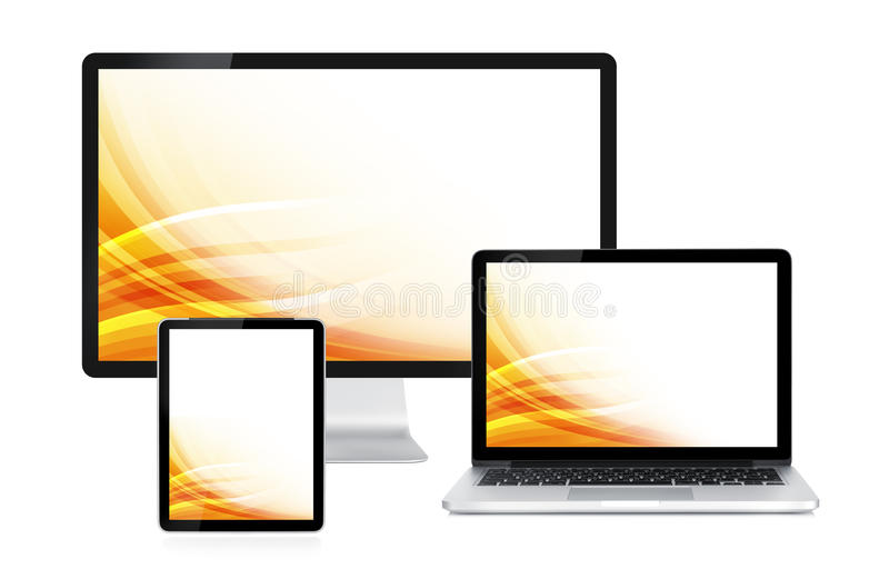 Computer display, laptop and tablet. With colorful wallpaper. Front view. Isolated on white background royalty free stock photos