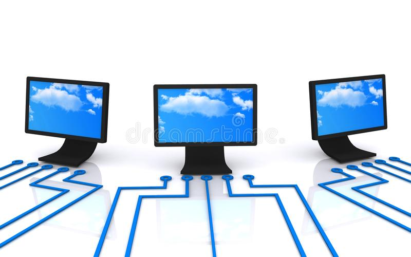 Computer displays. Computers and computer displays and network concept image vector illustration