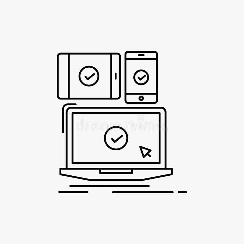 computer, dispositivi, mobile, rispondenti, linea icona di tecnologia Illustrazione isolata vettore illustrazione vettoriale