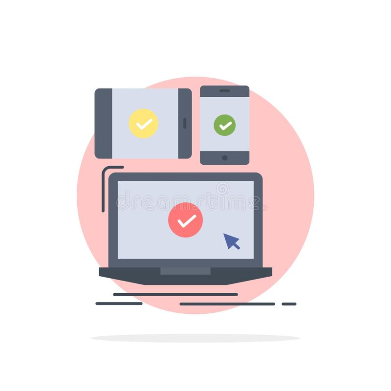 computer, dispositivi, mobile, rispondenti, vettore piano dell'icona di colore di tecnologia illustrazione vettoriale
