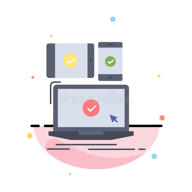 computer, dispositivi, mobile, rispondenti, vettore piano dell'icona di colore di tecnologia royalty illustrazione gratis