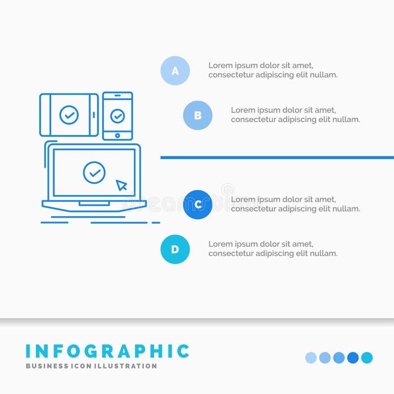 computer, dispositivi, modello mobile, rispondente, di tecnologia di Infographics per il sito Web e presentazione Linea icona blu royalty illustrazione gratis