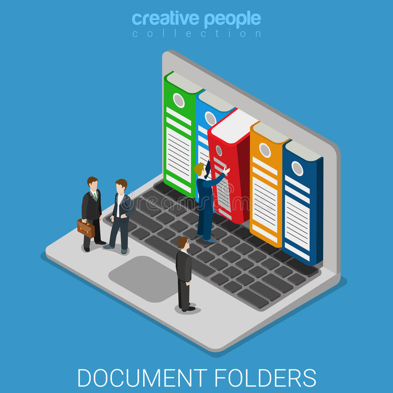 Free Computer Document Archive Folders Screen Flat Isometric Vector Stock Photography - 66219962