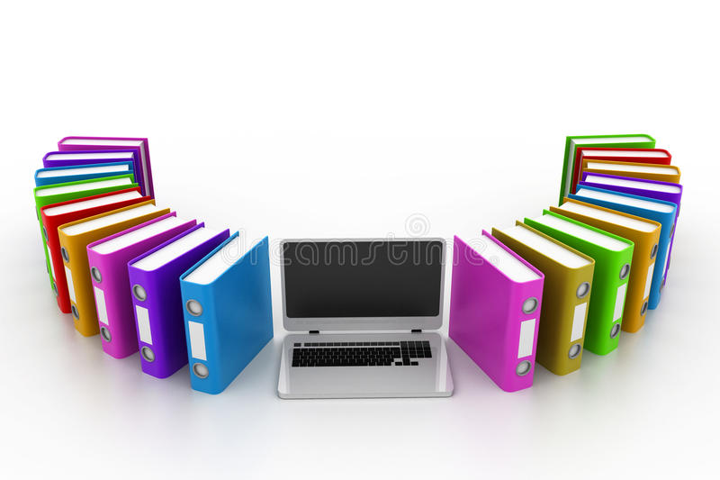Computer with documents. 3d illustration of Computer with documents royalty free illustration