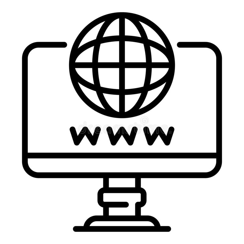 Computer domain icon, outline style stock illustration