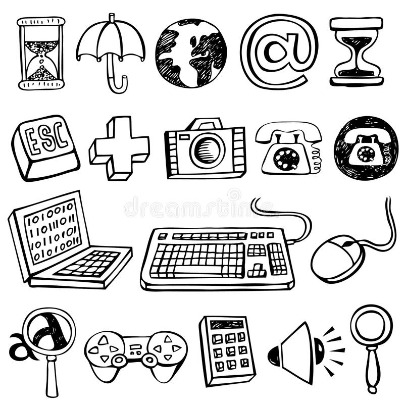 Computer doodles. Vector sketch computer doodle icons vector illustration