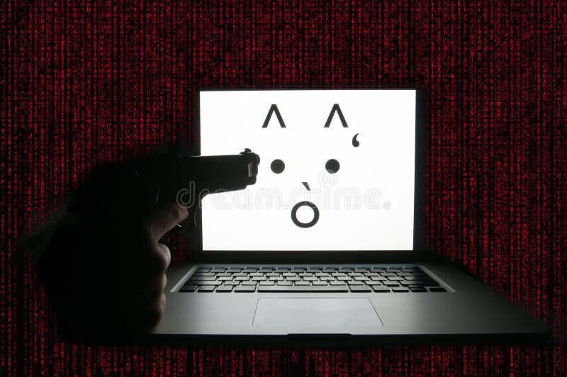 Computer door ransomware wordt aangevallen die royalty-vrije stock afbeeldingen