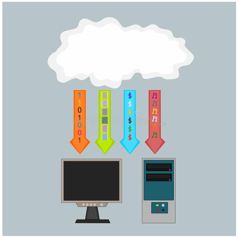 Business computer download cloud icon. Business computer technology device download information from cloud internet , illustration icon stock illustration