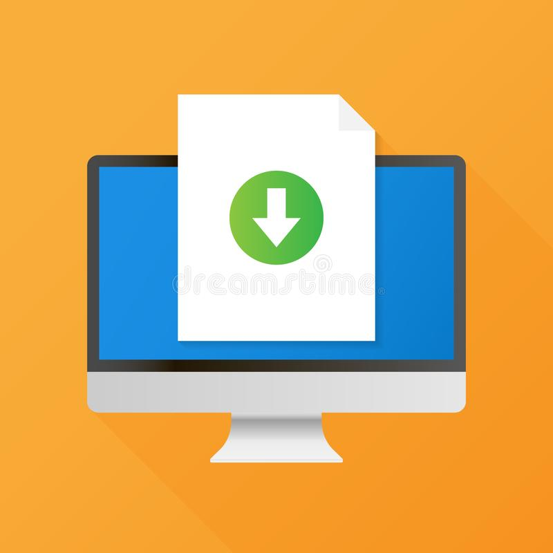Computer and download file icon. Document downloading concept. Trendy flat design graphic with long shadow. Vector stock illustration stock illustration
