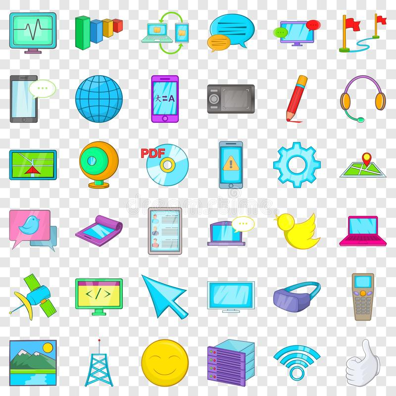 Computer download icons set, cartoon style. Computer download icons set. Cartoon style of 36 computer download vector icons for web for any design vector illustration