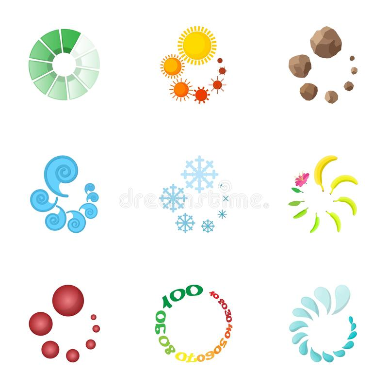 Computer download icons set, cartoon style. Computer download icons set. Cartoon illustration of 9 computer download vector icons for web stock illustration