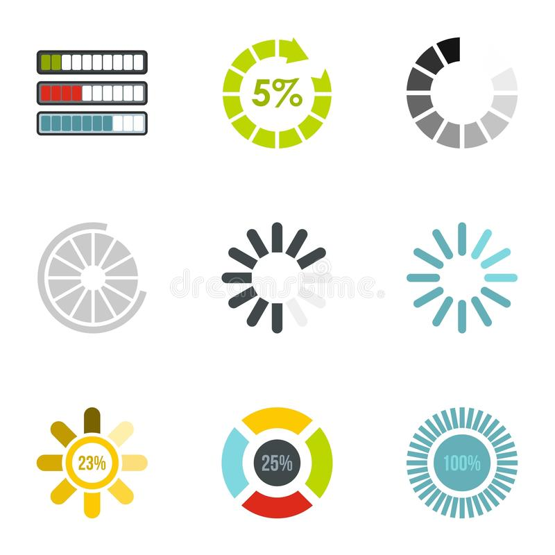Computer download icons set, flat style. Computer download icons set. Flat illustration of 9 computer download vector icons for web vector illustration