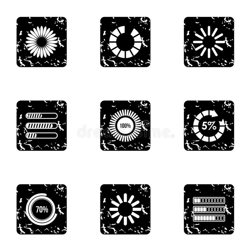 Computer download icons set, grunge style. Computer download icons set. Grunge illustration of 9 computer download vector icons for web stock illustration