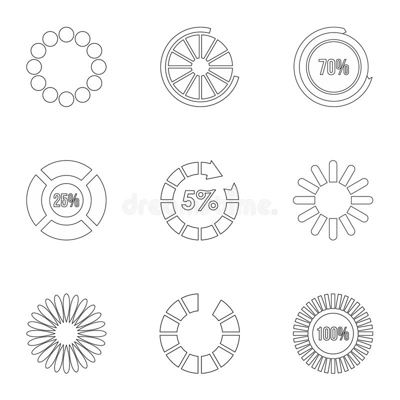 Computer download icons set, outline style. Computer download icons set. Outline illustration of 9 computer download vector icons for web royalty free illustration