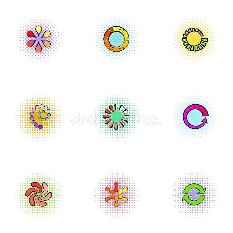 Computer download icons set, pop-art style. Computer download icons set. Pop-art illustration of 9 computer download vector icons for web vector illustration