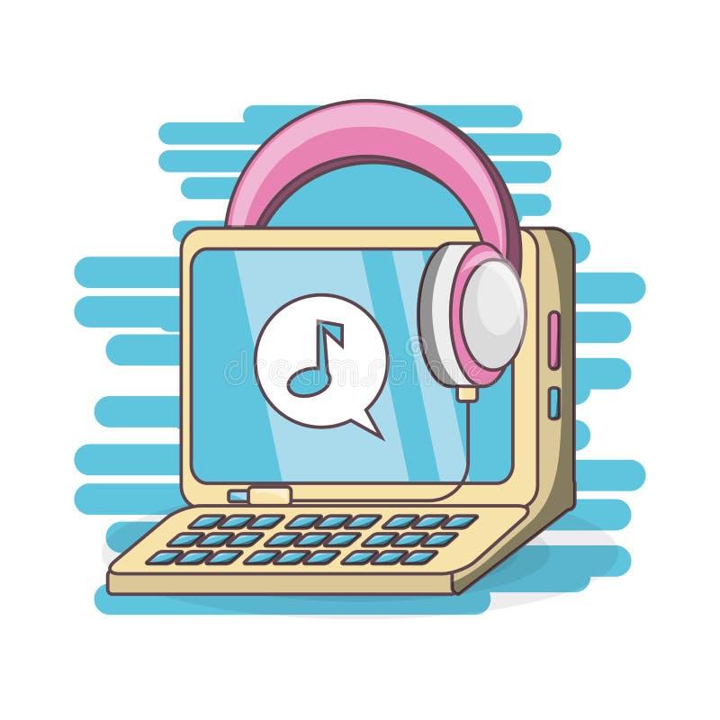 Computer e cuffie da ascoltare musica illustrazione di stock