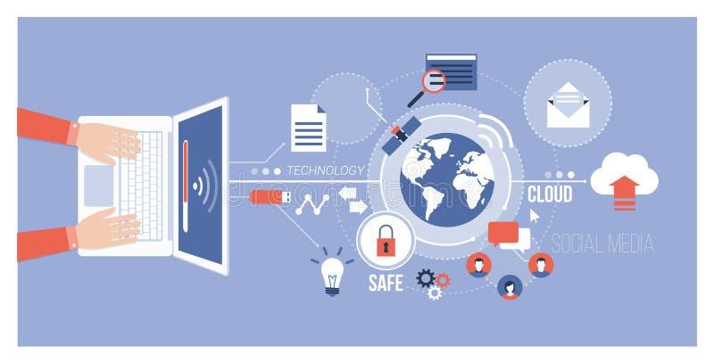 Computer e reti globali illustrazione vettoriale
