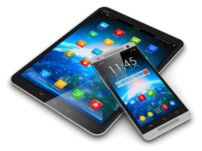 Computer e smartphone della compressa illustrazione di stock