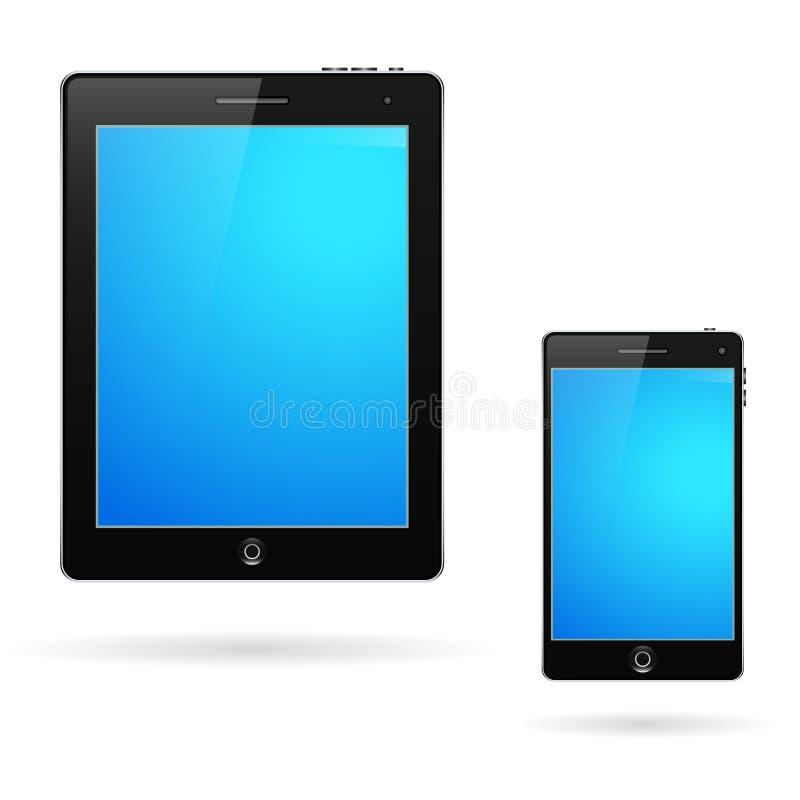 Computer e telefono cellulare della compressa fotografie stock libere da diritti