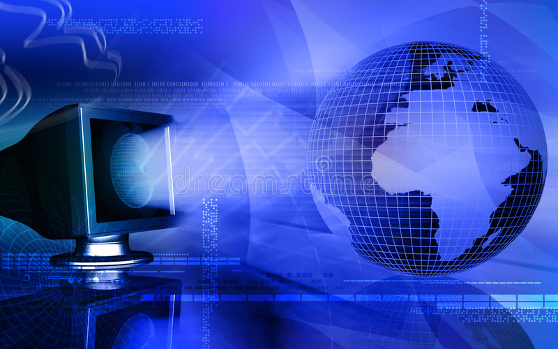 Computer and earth stock illustration