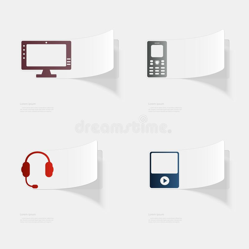 Computer and electronic devices. Flat sticker with shadow on white background. Vector illustration vector illustration