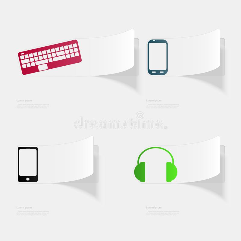 Computer and electronic devices. Flat sticker with shadow on white background. Vector illustration stock illustration