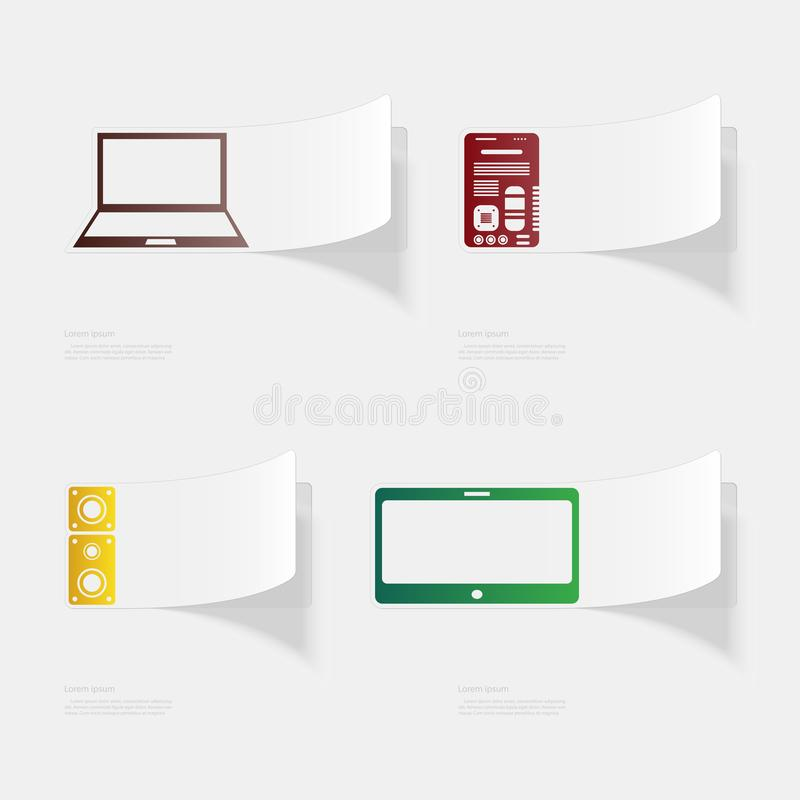Computer and electronic devices. Flat sticker with shadow on white background. Vector illustration royalty free illustration